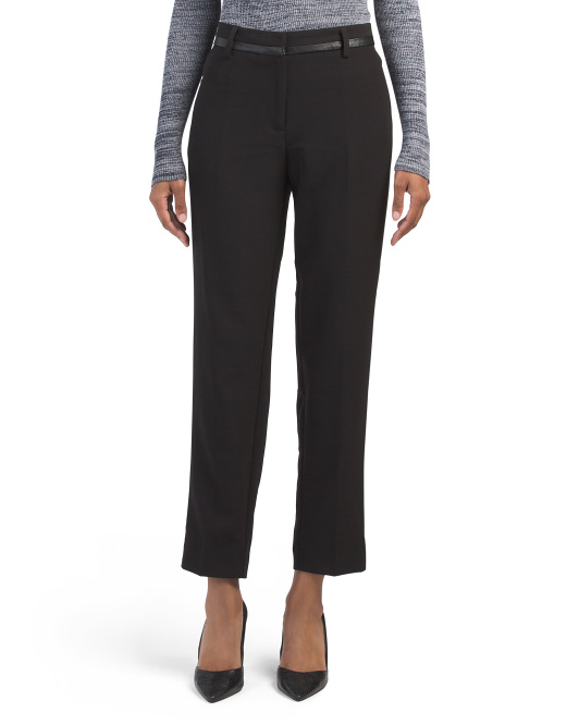 Missy Slim Pants With Faux Leather Waistband