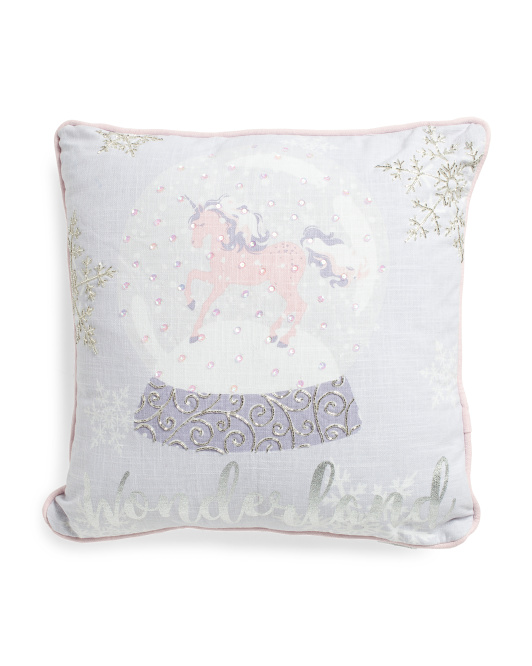 Made In India 18x18 Unicorn Wonderland Pillow