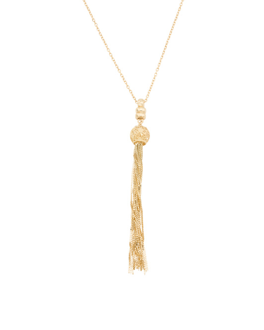 Made In Italy 14k Gold Filigree Bead Fringe Necklace