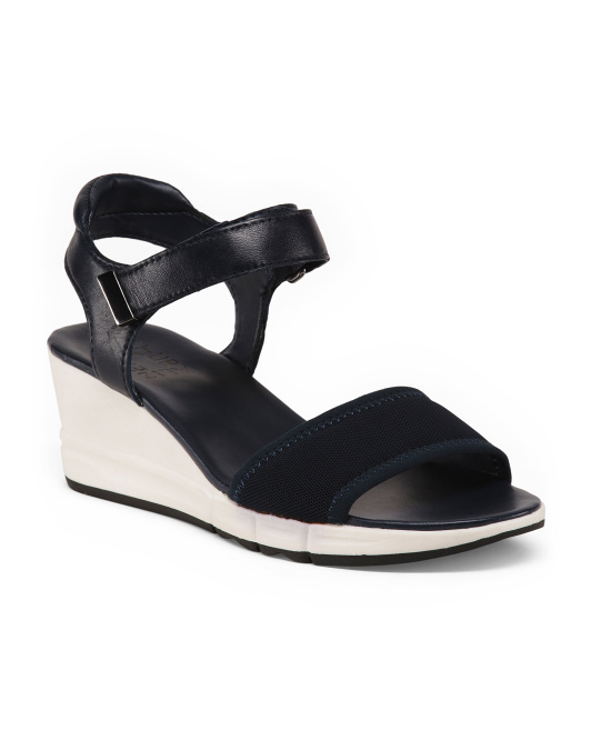 Stretch Wedge Leather Sandals
