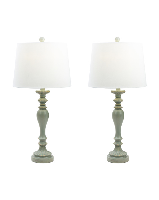 Set Of 2 Spindle Lamps