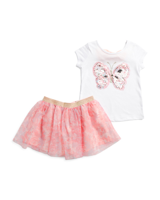 Little Girls 2pc Butterfly Floral Mesh Skirt Set