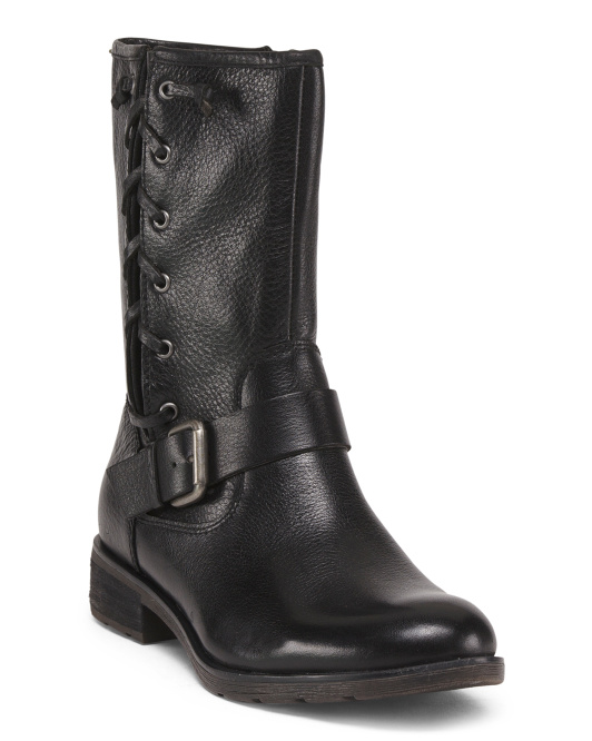 Mid Shaft Buckle Leather Boots