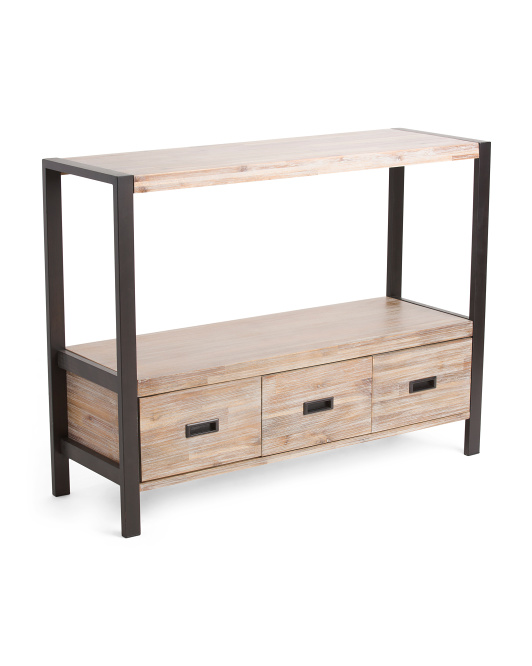 Acacia Wood 3 Drawer Console