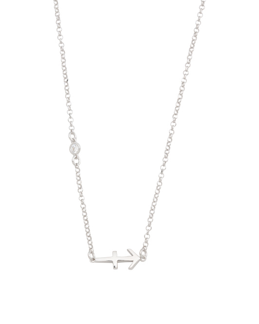 Made In Italy Sterling Silver Zodiac Sign With Cz Necklace