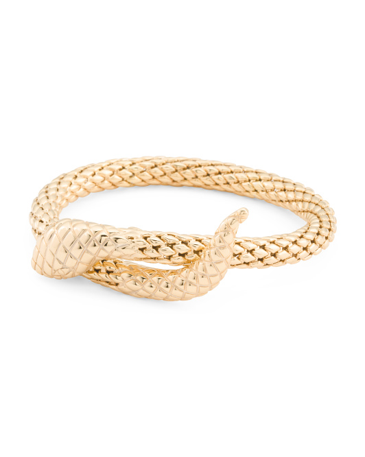 Made In Italy Gold Plate Sterling Silver Snake Cuff Bracelet