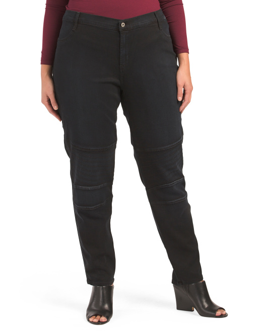 Made In Usa Plus Curvy Skinny Moto Pants