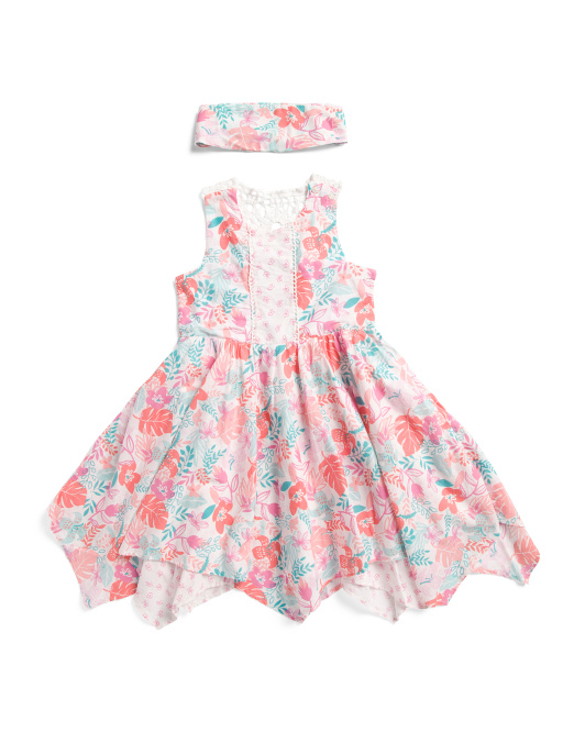 Little & Big Girls Floral Crochet Back Dress