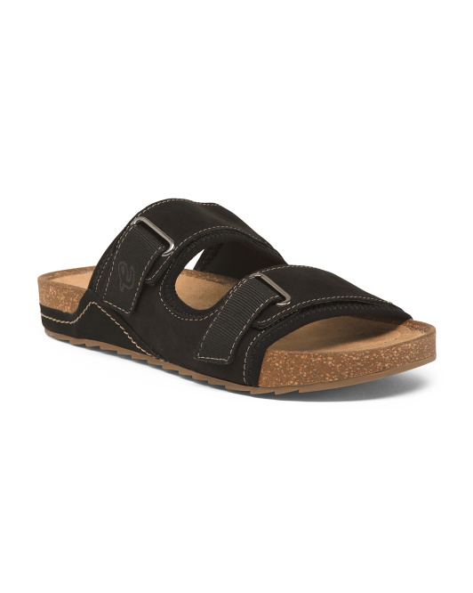 Two Buckle Comfort Footbed Suede Slides