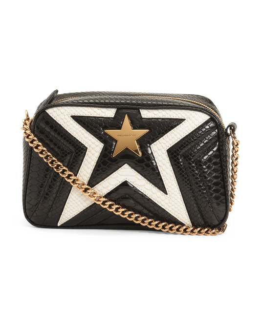 Made In Italy Python Embossed Star Shoulder Bag