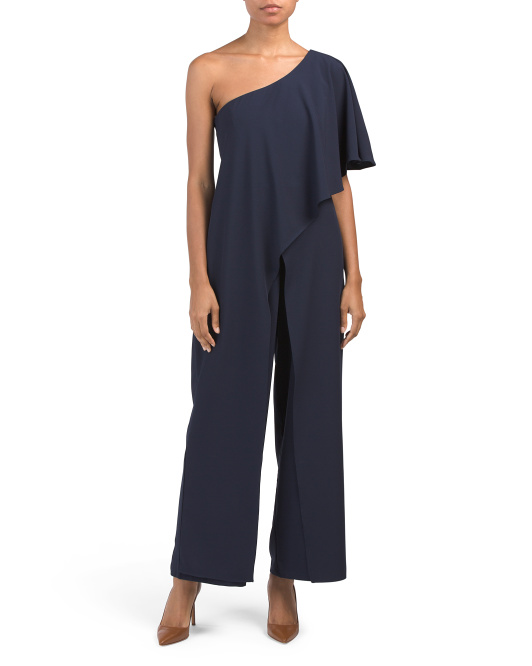Made In Usa Petite One Shoulder Jumpsuit