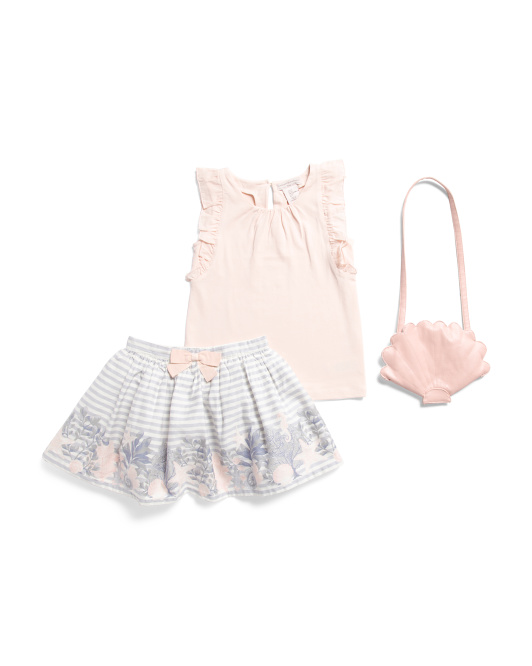 Toddler Girls 2pc Skirt Set With Shell Purse