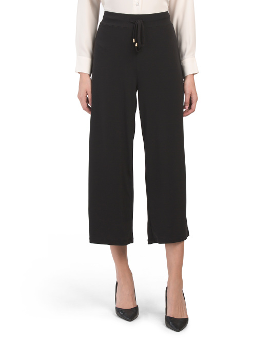 Cropped Culotte Pants With Tie
