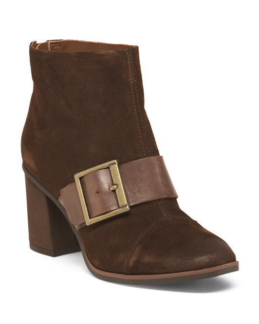 Suede Buckle Booties