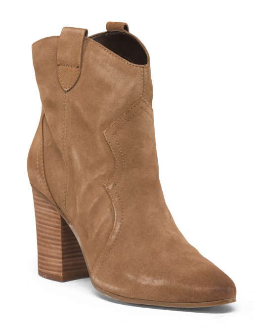 Pull On Western Suede Booties