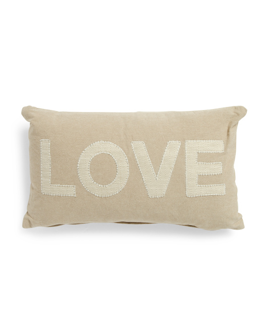 Made In India 12x20 Embroidered Love Pillow