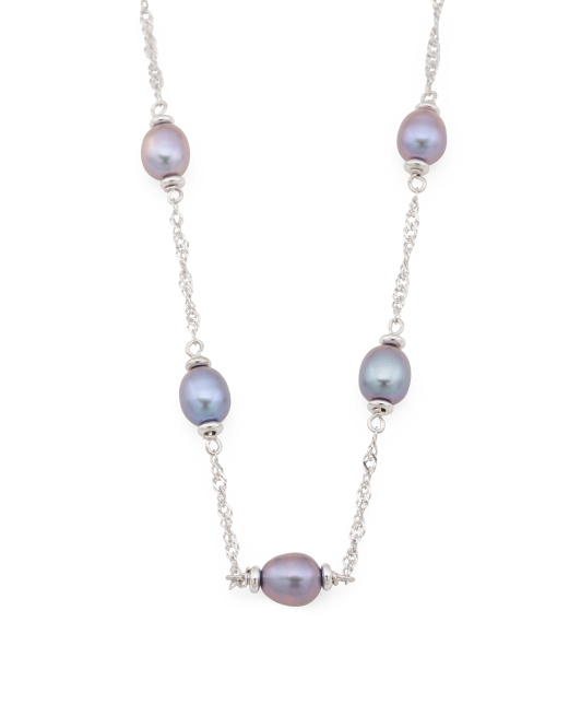 Made In Italy Sterling Silver Pearl Station Necklace