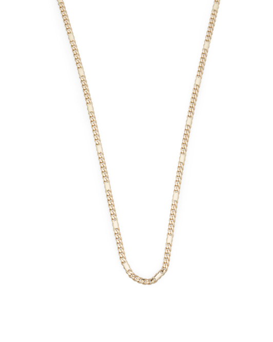 14k Gold Alternate Curb Concave Chain Necklace