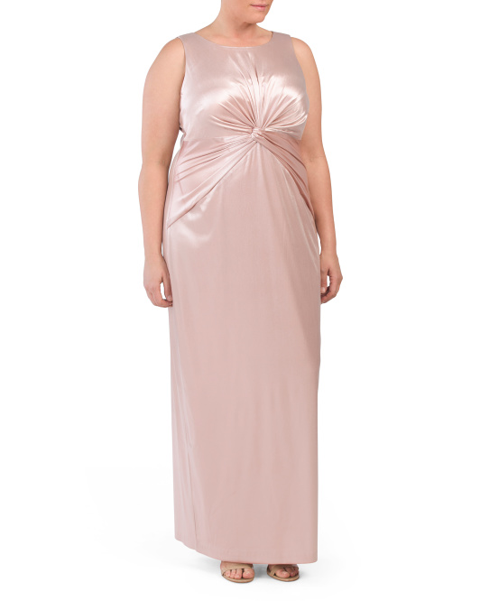 Plus Sleeveless Knot Front Gown