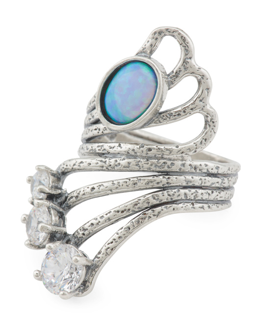 Made In Israel Sterling Silver Opal And Zircon Ring