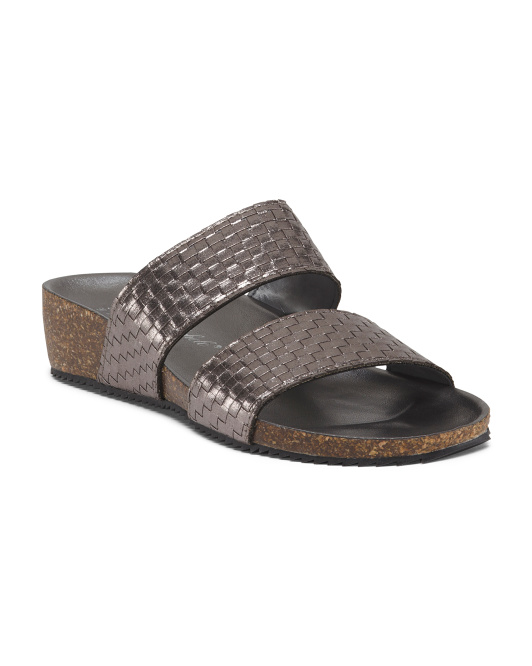 Made In Italy Woven Slip On Sandals