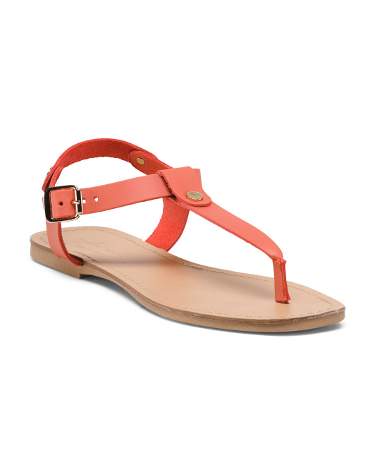 Made In Italy Leather T Strap Flat Sandals