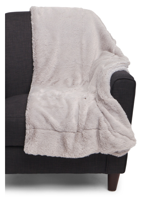 Matte Rabbit Faux Fur Throw