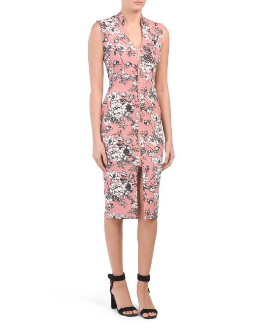 Juniors Floral Zip Front Dress