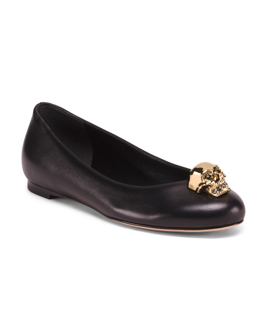 Made In Italy Leather Flats With Skull Ornament