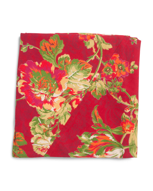 Made In India Tea Rose Harvest Round Tablecloth