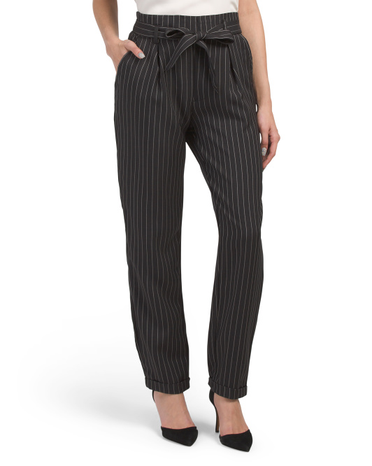 Pinstripe Paper Bag Pants
