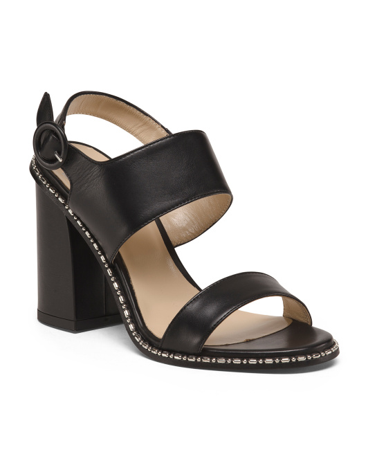 Made In Italy Heeled Leather Mule Sandals