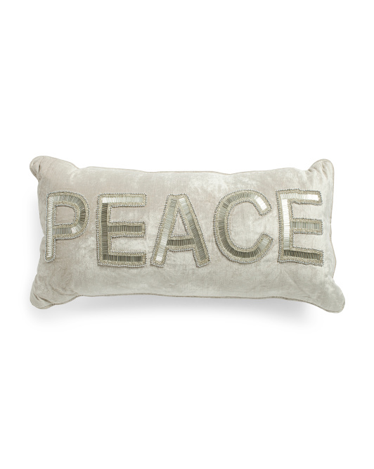 Made In India 12x24 Beaded Peace Pillow
