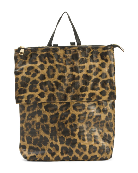 Animal Print Backpack With Flap