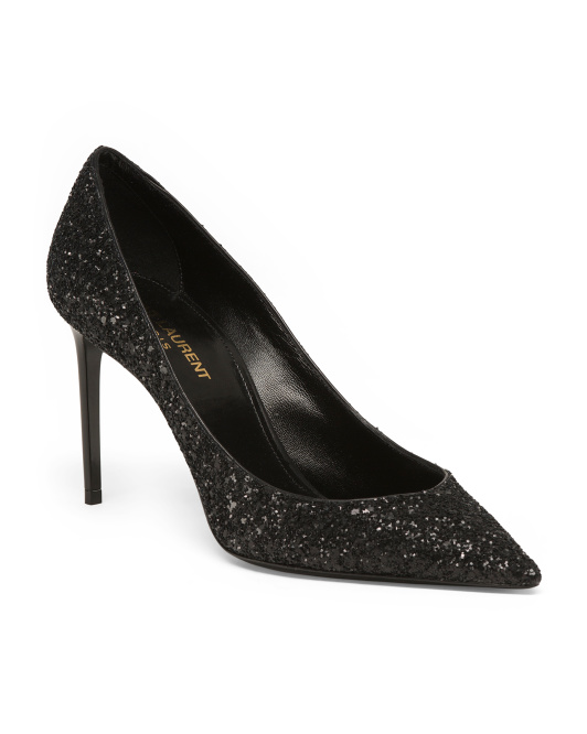 Made In Italy Leather Glitter Pumps