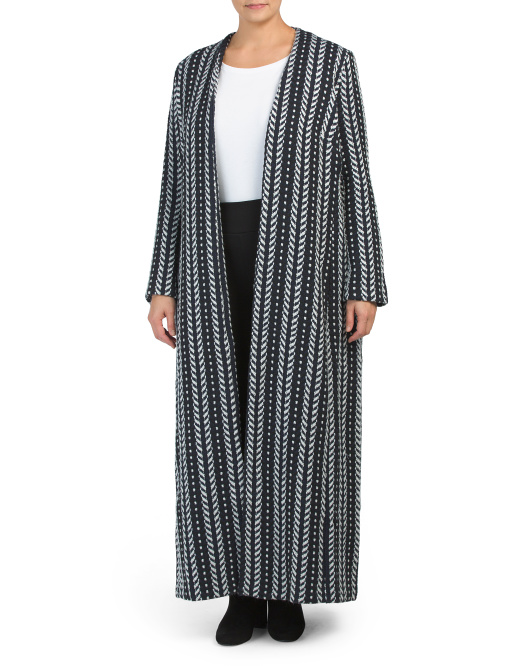 Plus Dotted Striped Maxi Cardigan
