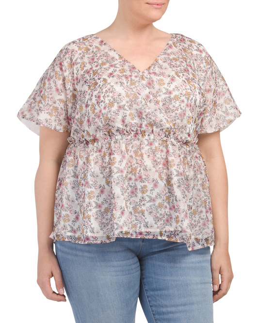 Plus Short Sleeve Abbey Bouquet Blouse