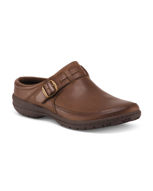 Breathable Full Grain Leather Comfort Clogs