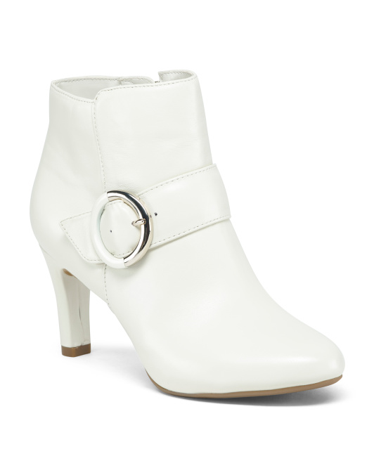 Leather Buckle Detail Booties