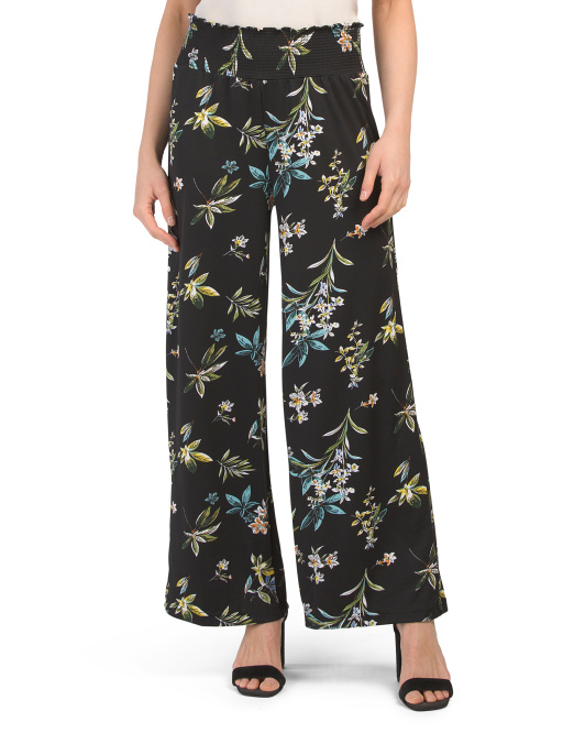Petite Wide Leg Pull On Printed Pants