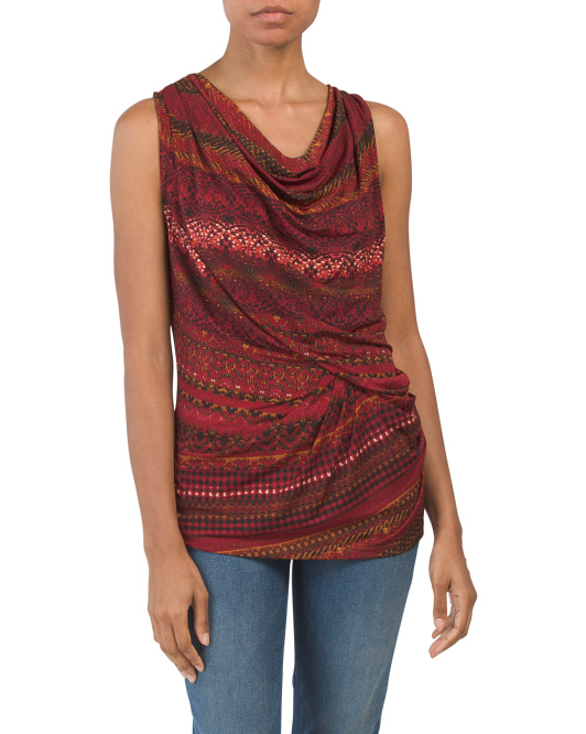 Made In Usa Cowl Neck Drapey Top