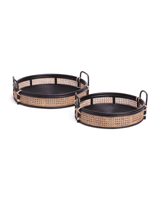 Set Of 2 Natural Cane Trays