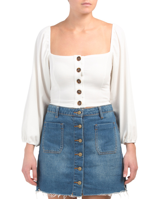 Juniors Square Neck Button Crop Top