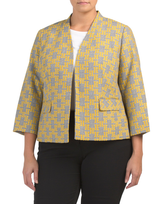 Plus Jacquard Plaid Fly Away Blazer