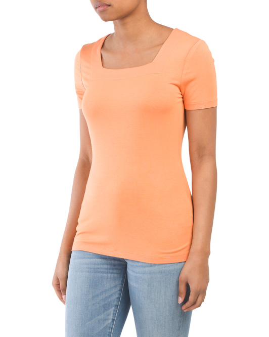 Short Sleeve Square Neck Jersey Top