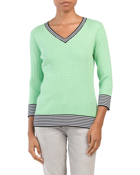 Cabled V-neck Pullover Sweater