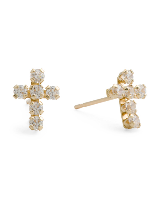 Made In Italy 14k Gold Cz Cross Stud Earrings