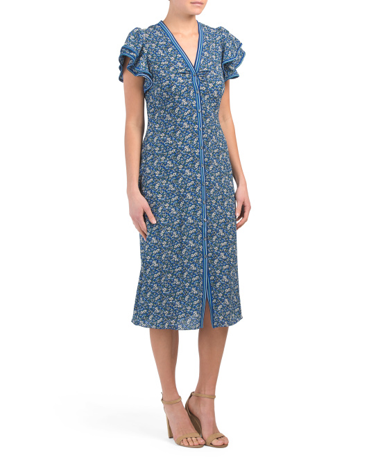 Magnolia Print Bubble Crepe Dress