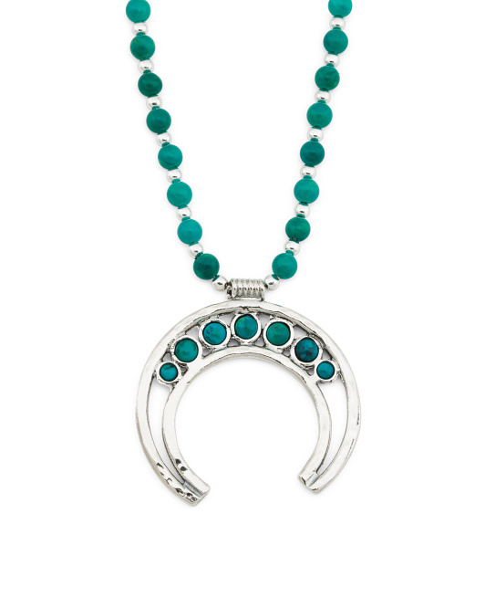 Made In Israel Sterling Silver Turquoise Squash Necklace