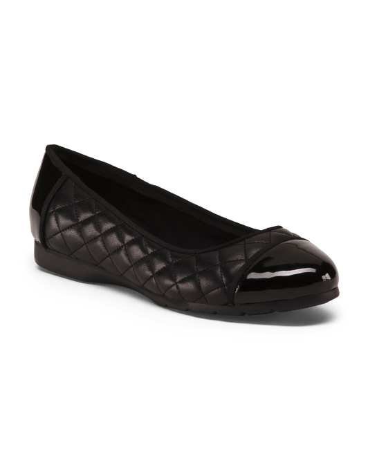 Wide Faux Leather Comfort Quilted Flats